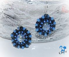 Evening Dream earrings blue earrings beadwork by RoyalKittyJewelry Blue Earrings, Crystal Earrings, Earrings Handmade, Handmade Jewelry, Crystals, Detail, Beadwork, Stuff To Buy, Etsy