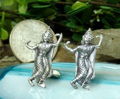 Vintage Siamese Sterling Silver Figural 'Dancer' Clip on Earrings!! #Unbranded