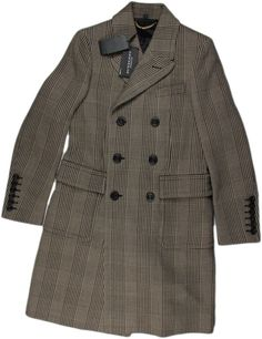 a4cc51545649 BURBERRY PRORSUM BROWN PATTERN WOOL OVERCOAT-48 38US-MADE IN ITALY   BurberryProrsum