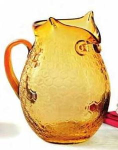 Amber Glass Owl Pitcher