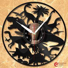 Vinyl wall clock - Dinosaur