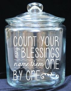 Blessing/Gratitude Jar 1 Gallon Glass Cookie Jar by JoyousDays