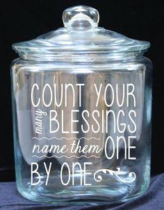 Blessing/Gratitude Jar 1 Gallon Glass Cookie Jar by JoyousDays