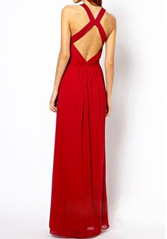 Red Plain Sleeveless Chiffon Maxi Dress pinterest.com/nasti