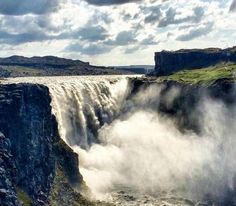 Dettifoss waterfall (Iceland) - Visit the most powerfull waterfall in Europe. Dettifoss is 100 metres wide and 45 metres deep. It has an average water flow of 193 m3/s. Want to discover more hidden gems in Europe?? All of them can be found on www.mapiac.com