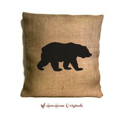 Bear Pillow, Bear Silhouette,Cabin Pillow,  Cabin Decor, Rustic Home Decor, Cabin Art by henhouseoriginals on Etsy https://www.etsy.com/listing/176724328/bear-pillow-bear-silhouettecabin-pillow