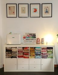 Sewing room Organization using IKEA Expedit/Kallax shelving with drawer components. So versatile.