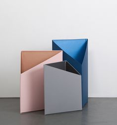 This set of three triangle 'Prism' boxes form a geometrical architecture. They are made with the traditional technique of Bookbinding and fold easily for transport. Geometric Furniture, Furniture Design, Fashion Displays, Colour Pallette, Palette, Stage Design, Set Design, Desk Set, Colour Board