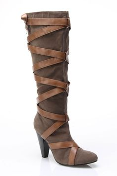c label Chasity-3 Boot With Straps In Tan And Taupe