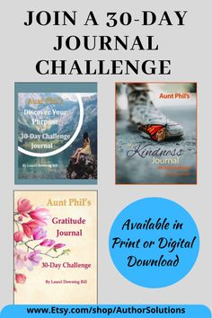 Would you like to discover your purpose, become a more grateful person, or be more kind? I created these 30-day journal challenges for you. Each journal contains daily prompts to guide you in your journaling. Available in print or digital download at www.etsy.com/shop/authorsolutions