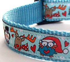 Christmas Owls Dog Collar $16