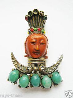 FUR CLIP Pin Bakelite Face Far East Goddess Guard