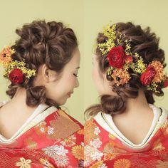 日本風ラプンツェル♡個性派おしゃれな〔ダウンスタイルの和装ヘア〕まとめ*   marry[マリー]