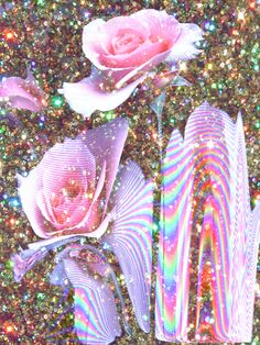 Holographic glitter roses