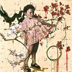 "Hung Liu. Temple. 2013. mixed media on panel. 41"" x 41"""