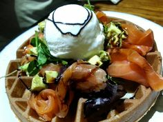 My latest love - smoked salmon with ice cream & avocado salad with balsamic on waffles