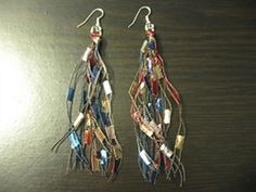 Trellis Ladder Yarn Fringe Earrings. Love these...free pattern at Ravelry