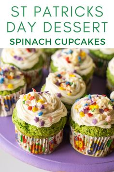 Easy healthy cupcakes recipe made with just a few simple ingredients - applesauce, fresh spinach, yellow cake mix and topped white frosting and sprinkles. Yes, you read that right! Spinach Cupcakes make for a sneaky way to include vegetables in your kids' diet. These are perfect for a birthday party! Healthy Cupcake Recipes, Healthy Cupcakes, Homemade Frosting, Cupcake In A Cup, Beautiful Cupcakes, Yellow Cake Mixes, Baking Cups, White Frosting, Making Ideas