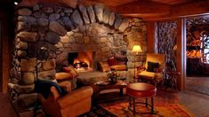 Rustic Living Room with stone fireplace, Hardwood floors Lake Placid Hotels, Lake Placid Lodge, Lake Placid New York, Cozy Fireplace, Fireplace Design, Fireplace Ideas, Resorts, Mountain Bedroom, Dry Stack Stone