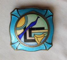Gorgeous Art Deco Enamel Gillouche Rouge Powder Compact Case