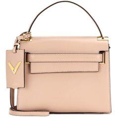 Valentino My Rockstud Leather Shoulder Bag (50.340.065 VND) ❤ liked on Polyvore featuring bags, handbags, shoulder bags, beige, red leather purse, beige shoulder bag, red shoulder bag, genuine leather handbags and valentino handbag