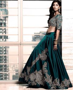 This teal lehenga by @houseofneetalulla from the #VrindavanSymphony collection…