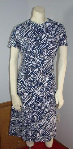Vintage 70s McMullen Blue & White Princess Dress Matching Jacket L 40 Bust  #McMullen