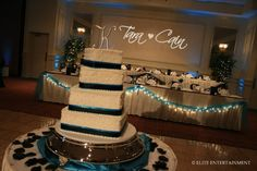 Turquoise and Black wedding reception
