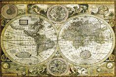 """Poster Carte du Monde """"ancienne"""" (91,5cm x 61cm): Amazon.fr: Cuisine & Maison"""
