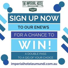 Our monthly eNews is a great way to keep in the loop about upcoming gigs and special events. Sign up now to go in the draw to WIN A DOUBLE PASS to a gig of your choice. Simply enter your details via this link: https://ift.tt/2uljfwp #whatson #whatsonsunshinecoast #imperialhoteleumundi #homeoflivemusic #visitnoosa #visitsunshinecoast