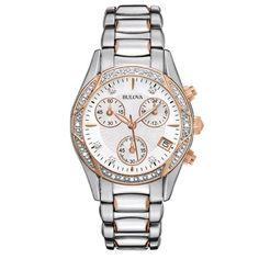 """Bulova Women's """"Anabar"""" Stainless Steel Watch From the Anabar Collection. Chronograph in stainless steel with two-tone rose-gold and silver ion-plated Stainless Steel Watch, Stainless Steel Bracelet, Bulova Watches, Quartz Watch, Watches For Men, Ladies Watches, Nice Watches, Dream Watches, Stylish Watches"""