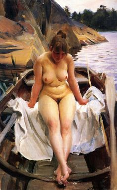 I Werners Eka (In Werner's Rowing Boat) Painted by:Anders Zorn