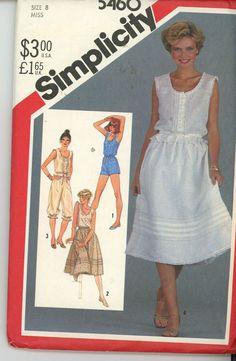Vintage 1980  Misses Camisole, Skirt,Romper, Shorts Simplicity 5460 Sz 8 UNCUT Vintage 1980