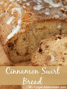 Simple Cinnamon Swirl Bread Recipe-- make this yummy bread up in just one bowl with basic pantry items.  No fuss and it pairs perfectly with fruit and coffee!