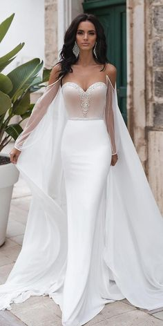 """Gorgeous Strapless Illusion and Backless Sweetheart Trumpet Wedding Dress / Bridal Gown with Open Back, a Train and Chiffon Cape. Collection """"Sweety"""" by Naviblue Bridal Queen Wedding Dress, Dream Wedding Dresses, Bridal Dresses, Wedding Gowns, Wedding Dresses With Cape, Dresses With Capes, Wedding Dresses Tight Fitted, Diamond Wedding Dress, Queen Dress"""