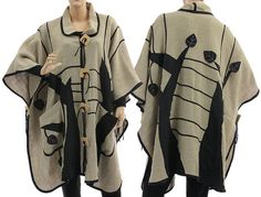 Artistic boho linen poncho cape  lagenlook for plus von classydress, $370.00
