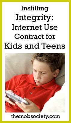 Internet use contract for kids and teens - from MOB Society (Mothers of Boys) Parenting Teens, Parenting Hacks, Internet Safety Tips, Mothers Of Boys, Raising Boys, Teen Life, Family Matters, Parent Resources, Family Kids
