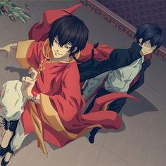 all_male chinese_clothes fon hibari_kyouya katekyou_hitman_reborn male