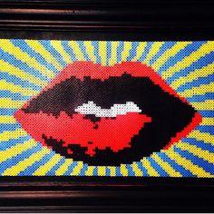 Framed Perler bead lips by DearGawd on Etsy