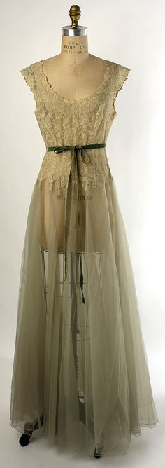 "Nylon and silk nightgown, American, 1938. Label: ""Vanity Fair"""