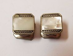 Vintage Kum A Part Baer & Wilde Silver Tone Cufflinks Snap Links Mother Of Pearl #BWCo
