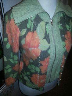 Hearts ♡ FREE PEOPLE ladies angora cardigan sweater top Mint/Mango/Gray S  Pearl #FreePeople #Cardigan
