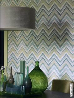 I LOVE the zigzag wallpaper! AND the drum lampshade is just gorgeous. Need I mention that I love the green bottle? *swoon* I'd love this wallpaper for an accent wall in our dining area...