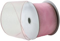 Wired Edge Organza Ribbon - Light Pink Roll of Ribbon - 25 yards -- More info could be found at the image url.