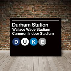 Duke University Subway Sign Canvas Wall Art by SussiesHome on Etsy