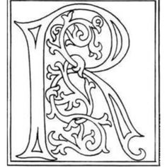 clipart: initial letter R from late century printed book, from Alphabets & Numbers of the Middle Ages, by Shaw, Henry Illuminated Letters, Illuminated Manuscript, Letter C Coloring Pages, Celtic Art, Medieval Art, Monogram Letters, Middle Ages, Hand Lettering, Stencil