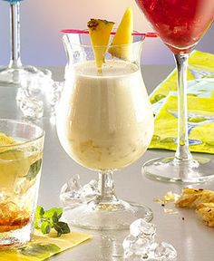 PINA COLADA  Ingredients (1 glass):  2 cl Rum (white)  3 cl Batida de Coco  4 cl Coconut milk  10 cl Pineapple juice  Ice cubes