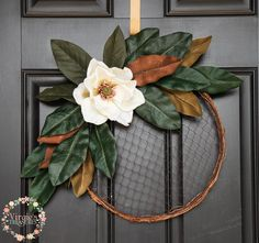 22  Ways to Decorate with Magnolia Leaves   Merry Christmas     Chicken Wire Hoop Wreath 1 Large Premium quality Magnolia faux floral with Magnolia  leaves  Measures