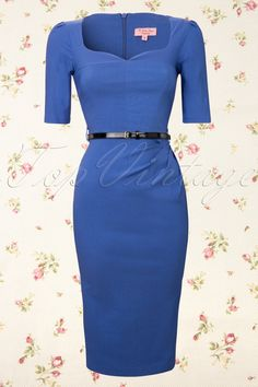 So Couture - Charlotte Sweetheart Pencil dress in Royal Blue 1/2 sleeve