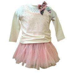 18de59764 Monnalisa Baby Girls White Top on Pink Dress Pink Tutu, Pink Dress, Baby  Girl